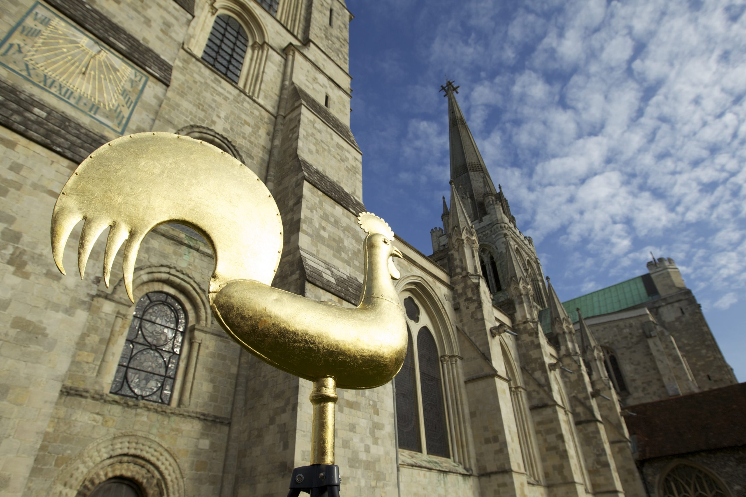 Fairtrade Gold Leaf weather vane that now sits on top of Chichester Cathedral