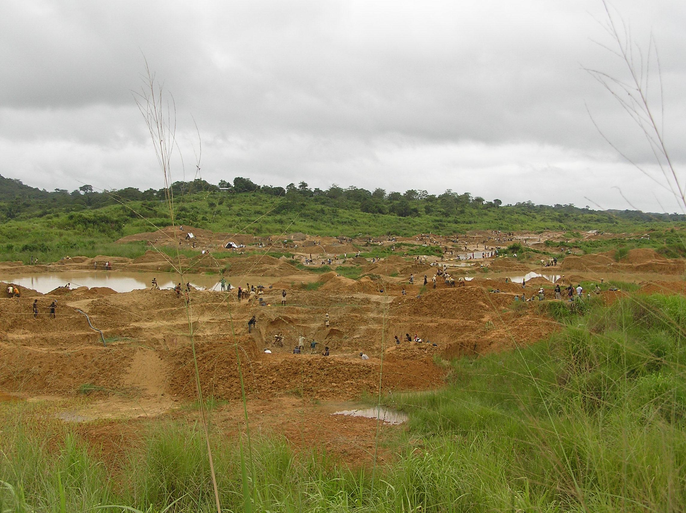 Alluvial diamond fields of Kono in Sierra Leone