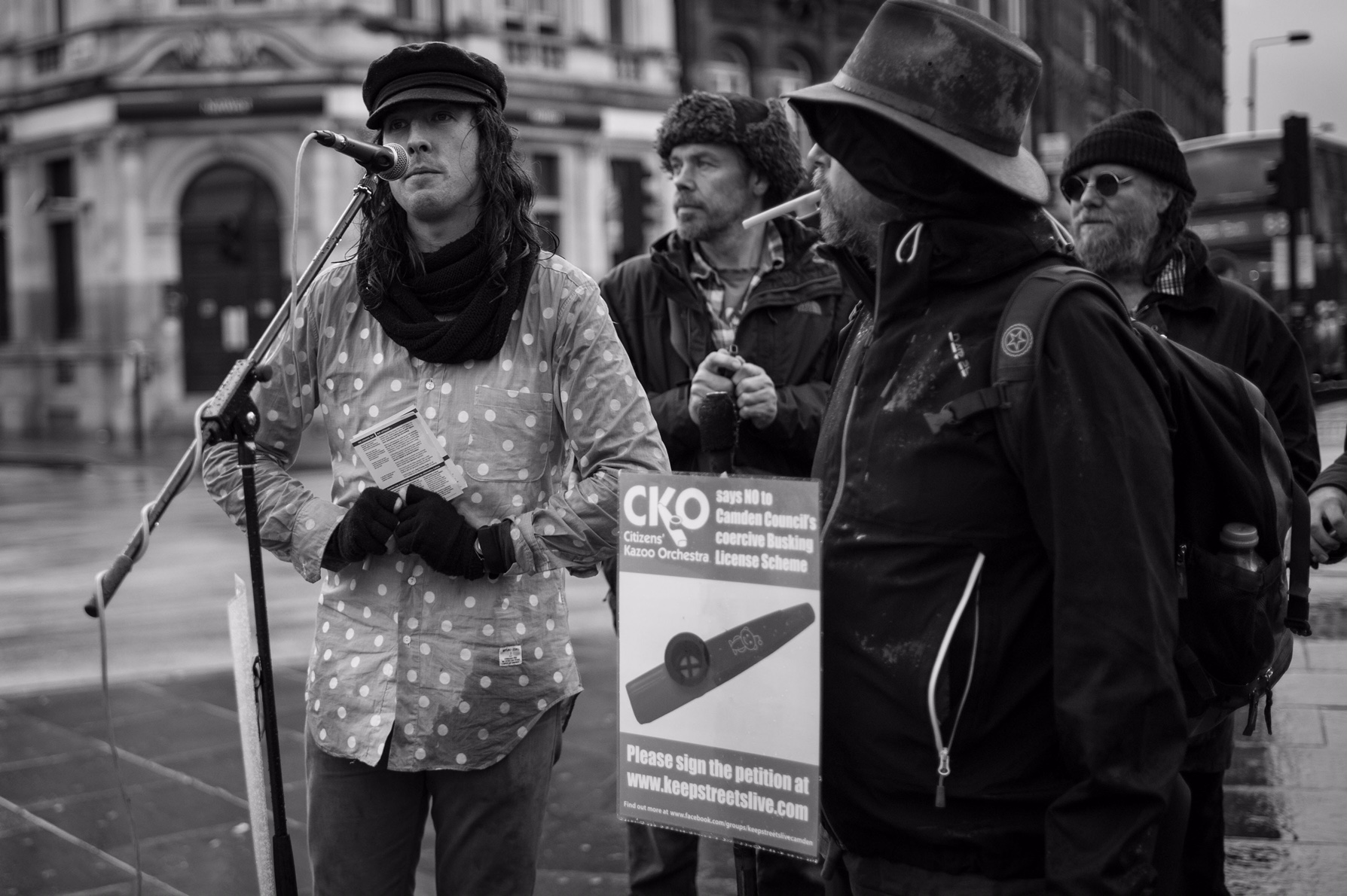 Jonny Walker and the Church of the Holy Kazoo - campaigning for Love and Justice for street performers in Camden Town.