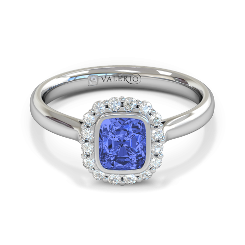 Blue Sapphire & Diamond Cluster Engagement Ring
