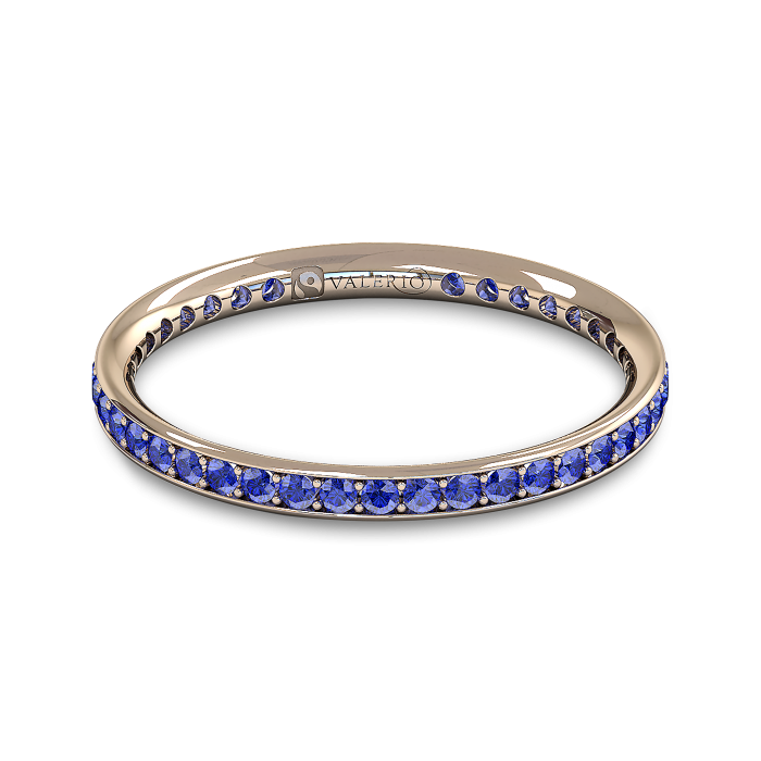 Blue Sapphire and Fairtrade Rose Gold Eternity Ring