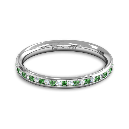 Diamond Emerald half Fairtrade Gold Eternity Ring