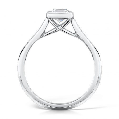Diamond Ring. Princess Cut Centre stone Rubover with diamonds on sides Profile