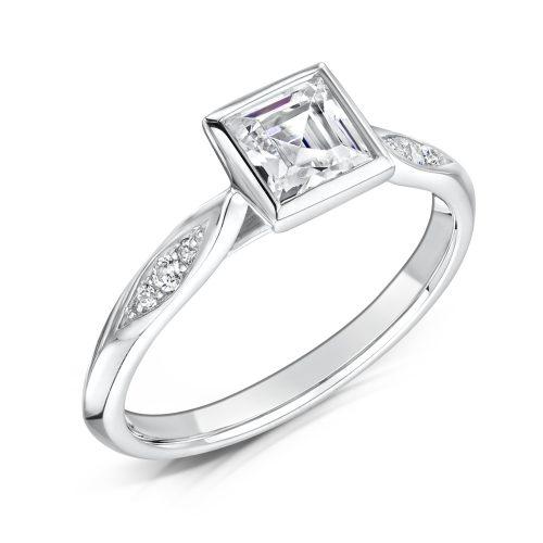 Diamond Ring. Princess Cut Centre stone Rubover with diamonds on sides Tilt