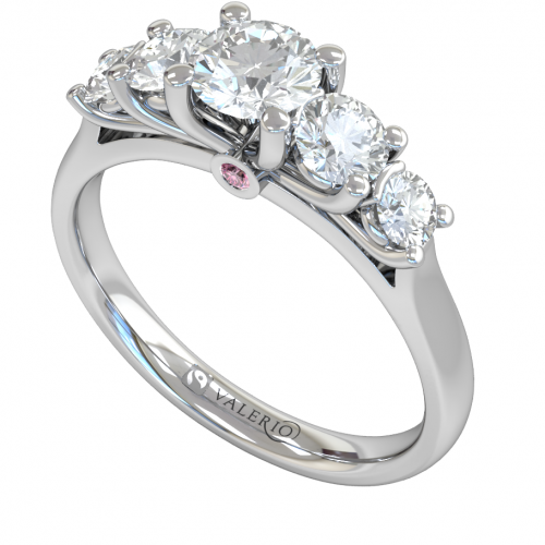 Five Stone Engagement Fairtrade 18 k White Gold