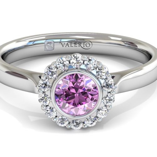 Pink Sapphire and Diamond Cluster Engagement Ring top
