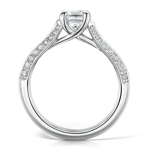 Solitaire Diamond Ring Princess Cut with Double row Diamonds on Shoulders Profile