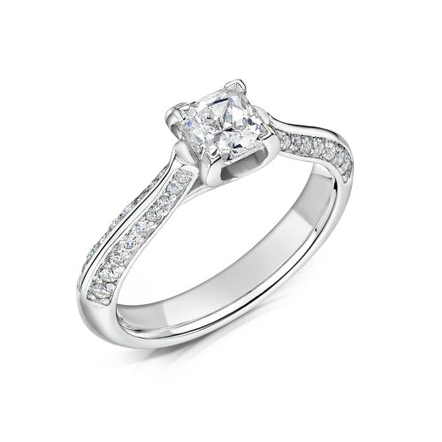 Solitaire Diamond Ring Princess Cut with Double row Diamonds on Shoulders Tilt