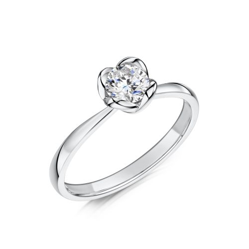 Solitaire Diamond Ring Round Brilliant Cut Bezel setting Tilt