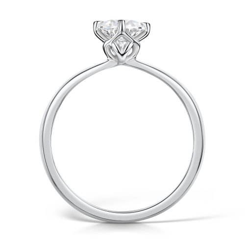 Solitaire Diamond Ring Round Brilliant Cut four Claw setting Profile