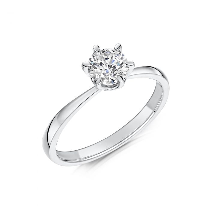 Solitaire Diamond Ring Round Brilliant Cut Six Claw setting Tilt