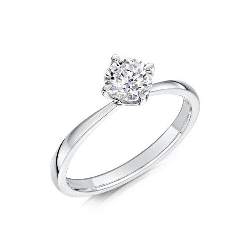 Solitaire Diamond Ring Round Brilliant Cut four Claw setting