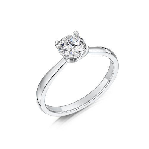 Solitaire Diamond Ring Round Brilliant Cut Four Talon Claws