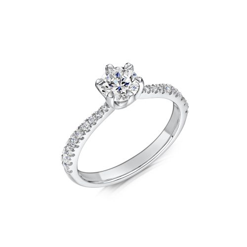 Solitaire Diamond Ring Round Brilliant Cut Six Talon Claws Diamond Edged