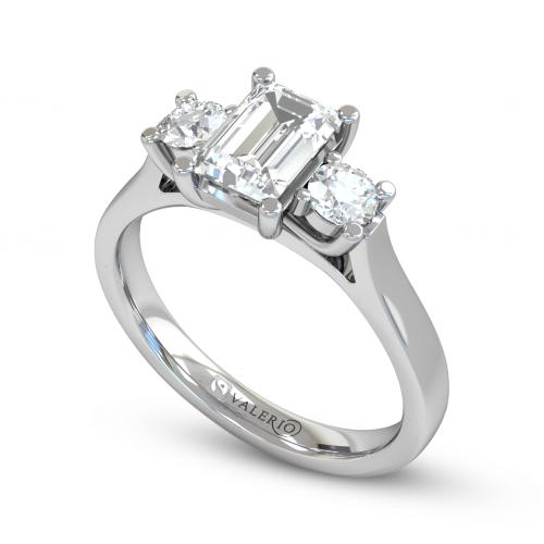 Emerald cut Diamond Trilogy Engagement Ring